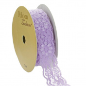 Ribbon Traditions 2.2cm Stretch Elastic Lace Trim Light Lavender 5 yards