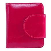 BIG SALE-70% OFF-AINIMOER Women's Small Billfold Genuine Leather Tri-Fold Wallet with Zipper Pocket