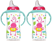 NUK 300ml Jungle Large Learner Cup With Handles, 2 Pack, Girl