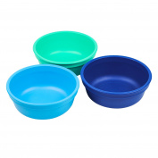 Re-Play Made in the USA 3pk Bowls for Easy Baby, Toddler, and Child Feeding - Sky Blue, Aqua, Navy Blue