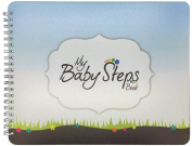"NEW! Baby First Year Memory Book Journal. ""Baby Steps"" (TM), Poly Cover Hand Made. Memory keeper record book and journal for Boy or Girl. 19cm x 24cm - Great Shower Gift"