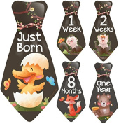 "NEW! Original Stick'Nsnap (TM) 16 Baby Monthly Necktie Onesie Stickers - ""Happy Forest Animals"" (TM). Milestones for 12 Months +4 bonus Milestones - Best Baby Shower Gifts!"