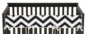 Sweet Jojo Designs Black and White Chevron Zig Zag Long Front Rail Guard Baby Teething Cover Crib Protector Wrap