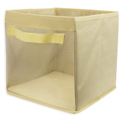 EasyView Storage Cube with Handles | 100% Woven Oxford Nylon Bin with Mesh See Thru Side | 10.5 x 27cm x 25cm , Foldable,