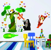 Nursery Wall Decals - Jungle Tree and Animals - Easy Peel and Stick Art Decor Stickers for Baby and Kid Rooms