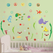 Nursery Wall Decals - Seaworld - Easy Peel and Stick Letters and Room Art Decor Stickers for Baby and Kid Personalised Name and Animals