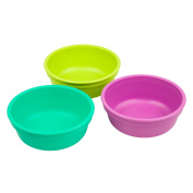 Re-Play Made in the USA 3pk Bowls for Easy Baby, Toddler, and Child Feeding - Aqua, Green, Purple