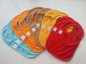 Baby Bibs with Snap Closures Solid Colours (10 Pack) by Kohars. 100% Cotton Absorbent Reversible Unisex Teething Dribble Bibs. Perfect for Newborn Infant Toddlers & Baby Shower and Gift Basket