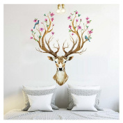 Hatop 3D Plum flower deer Wall Stickers DIY Decoration PVC Removable Waterproof