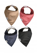 SPECIAL PROMO Baby Bandana Drool Bibs Set of 4 for Boys and Girls, Plain, Unisex, Super Soft, Absorbent, Adjustable Snaps, Made of Organic Cotton And Fleece Burpy Bib Vipbibs