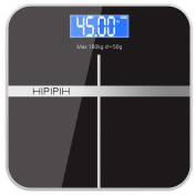 Hippih Smart Weigh Body Digital Precision Scale with Step-On Technology Easy-to-Read Measures Weight 400lb/180kg AAA Glass Square 006