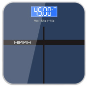Hippih Digital Body Weight Bathroom Scale with Step-On Technology Measures Weight 400lb/180kg AAA Glass Square 004