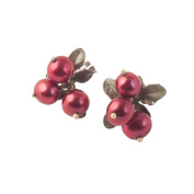 """""""Cranberry"""" 3 Pearl CLIP Earrings by Michael Michaud for Silver Seasons"""