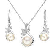 EleQueen 925 Sterling Silver CZ Cream Freshwater Cultured Pearl Leaf Bridal Necklace Hook Earrings Set Clear