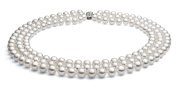 14k White Gold Triple Strand White Akoya Cultured Pearl Necklace AA+ Quality (7.5-8mm), 19""