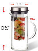 1000ML Borosilicate Glass Fruit Infusion Pitcher / BPA Free Fruit Infuser / Borosilicate Glass Water Pitcher / Infusion Cylinder / Built in Strainer / . Design with Stainless Steel Lid