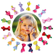 CHIC-CHIC 10pcs Baby Girls Cute Colourful Grosgrain Ribbon Bowknot Bow Alligator Hair Clips Hairpin Barrettes