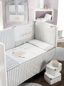 Interbaby 91626 - 02 Mod Trolley Set 3 Pieces Large Baby Quilt, Bumper and Pillow Bed, 70 x 140 cm Pink