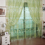 Voile Curtain Room Rustic Garden Style Flower Sheer Curtain Home Decoration-Yellow