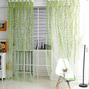 Wicker Curtain Yarn Finished Product For Living Room Tulle Curtain Window Decor-Green