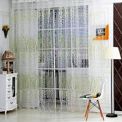 Wintersweet Flower Floral Printed Tulle Voile Window Balcony Sheer Panel Screen-Green