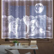 Wolves Kids Net Curtain Wolf Animals White Slot Top Ready made NEW