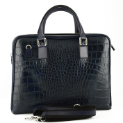 Made In Italy Genuine Leather Woman Briefcase Crocodile Printed Colour Dark Blue Tuscan Leather - Business Bag