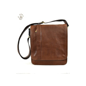 Made In Italy Vegetable Tanned Leather Crossbody Man Bag Colour Brown Tuscan Leather - Prestige Line