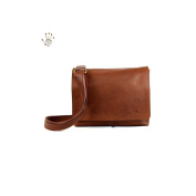 Made In Italy Vegetable Tanned Leather Crossbody Bag Colour Brown Tuscan Leather - Prestige Line