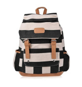 Yisidoo Women's Girls' Striped Navy Wind Canvas Backpack School Students Rucksack Daypack