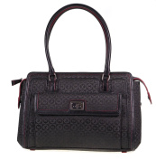 RADLEY HENDON JACQUARD LARGE ZIPTOP BLACK FABRIC & LEATHER TRIM HANDBAG FOR WOMEN