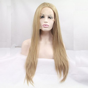 high quality 24# blonde silky straight wig natural look blonde synthetic lace front wigs heat resistant fibre hair