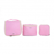 Qearly Multifunction Hanging Toiletry Bag Organzier Travel Makup Bag Set-Pink