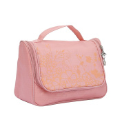 Qearly Lovely Waterproof Oxford Travel Toiletry Bag Cosmtic Makeup Bag-Pink