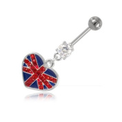 Union Jack Flag Navel Banana Piercing Stainless Steel ball 5 mm 10 mm/Bar Thickness 1.6 mm/Length Bangle - INT