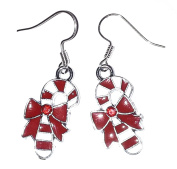 Red & White Striped Chirstmas Candy Cane Silver Earrings with Rhinestones Costume Jewellery UK Seller