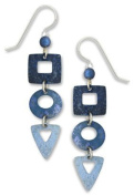 Adajio by Sienna Sky Women's Blue Square Circle Triangle Textured Gradient Dangle Earrings 7298