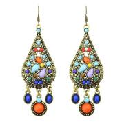 1Pair Fashion Drop Earrings Vintage Long Ethnic Bohemian Earrings for Women Colourized
