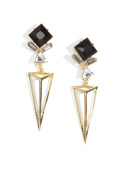 Happiness Boutique Women Drop Earrings Black and Gold | Long Statement Earrings Triangle Geometric Futuristic Design nickel free