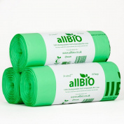 25 Litre x 75 bags allBIO 25 Litre 100% Biodegradable & Compostable Kitchen Kerbside Bin Liners