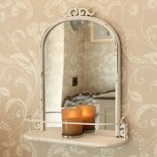 Antique Shabby Chic Ivory Metal Bathroom Wall Mirror Shelf Cosmetic Shaving
