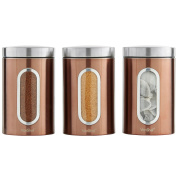 VonShef Set of 3 Copper Tea, Coffee & Sugar Canisters with Window - Stainless Steel - FREE 2 Year Warranty