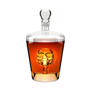 Balvi - Poison whiskey decanter. Liquor bottle of 1L (980mls) capacity. Has a skull inside. Made of glass.