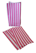 1000 x Candy Stripe Pink and White Block Bottom Sweet Bags.