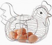 Chrome Plated Egg Holder Basket Chicken Hen Shaped Egg Storage Display Rack New