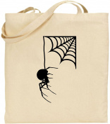 Spider Hanging From Web Halloween Large Cotton Tote Bag Scary Trick Treat Creepy