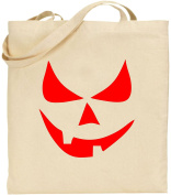 Scary Smiley Face Pumpkin Halloween Large Cotton Tote Bag Scary Trick Treat Cool