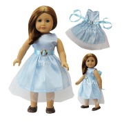 ZITA ELEMENT® Doll Clothes -Quality Outside Daily Costume, Sky Blue Dress Clothes fits for American's Girl Doll, My Life Doll, Our Generation and other 46cm Dolls