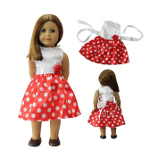 ZITA ELEMENT® Doll Clothes -Quality Outside Daily Costume, White & Red point Dress Clothes fits for American's Girl Doll, My Life Doll, Our Generation and other 46cm Dolls