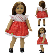 ZITA ELEMENT® Doll Clothes -Quality Outside Daily Costume, White & Red point mini Dress Clothes fits for American's Girl Doll, My Life Doll, Our Generation and other 46cm Dolls
